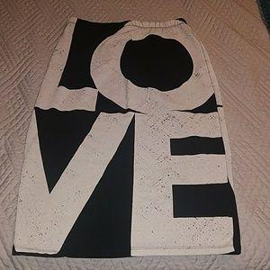"""TOPSHOP  """"LOVE"""" Tube Skirt"""